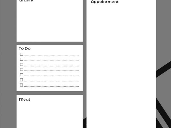 2020 Daily Black And White Planner Template