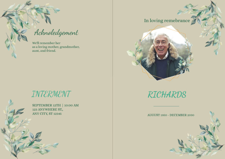 Free Editable Funeral Template 01
